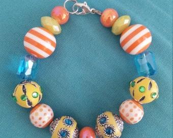 Handmade beaded multicolor bracelet