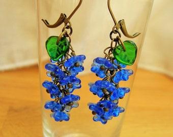 Sapphire blue flower earrings, 30's inspired czech glass earrings.
