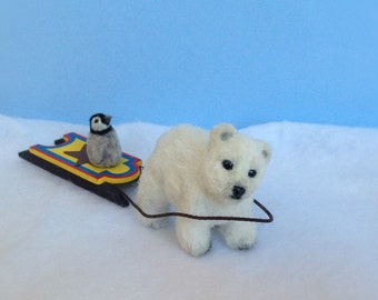 Miniature Polar Bear , Mini Penguin , Dollhouse Polar Bear , Dollhouse Penguin ,  Sculpted Polar Bear , 1 12  Polar Bear , Mini Animals