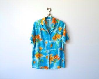 Blue 80s Shirt Floral Print Shirt Short Sleeves Shirt Blue Orange Flowers Print Summer Shirt Size Large