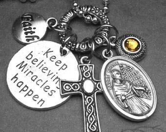 ... Custom Birthstone, Catholic Jewelry Gift, Drug Addiction Patron Saint
