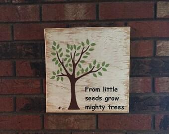 From little seeds grow mighty trees, Teacher, School, Nature, Kids, Children, Classroom, Growing, Rustic Tree, Seeds, Outdoors
