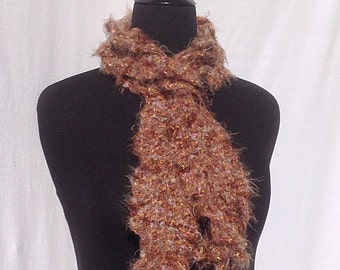 Romantic Ruffles Scarf in Brown with Multicolor Speckles