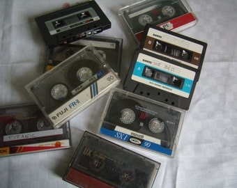 Vintage audio-cassette tape 1980 - 90 s, lot of 5 cassettes, records, rewritable