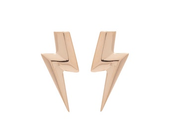 3D Flat Top Lightning Bolt Earrings in solid 14 Karat Gold from the Rock & Roll Collection. Designer jewelry from Ireland.