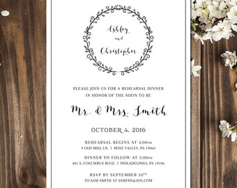 Rehearsal Dinner Invitation | Rehearsal Dinner Invitation Template | Rehearsal Dinner Printable | Wedding Rehearsal | Digital or Printed