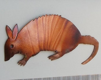 Flame painted copper Armadillo, pin