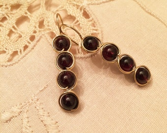 Natural burgundy garnet gemstone beads earrings hand wrapped with gold wire
