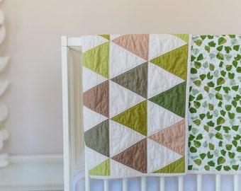 Modern Triangle Quilt - Lovely Hunt Strawberry Fields - Gender Neutral - Crib Quilt - Green - Tan