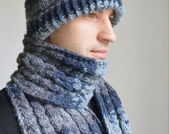 Hand knitted mens scarf and hat