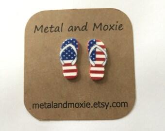 Flip Flop Stud Earrings, Patriotic, Stars and Stripes, Beach Attire, Under 10 Dollars, Jewelry Giftt
