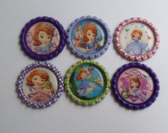 Set of 6 Disney Princess Sofia themed Finished Bottle Caps - Magnets - Necklaces