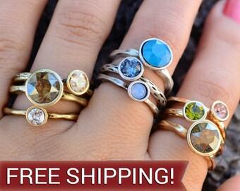 Circle Stacking Rings by Sweet Romance, Stackable Rings, Stacking Ring Set, Stack Rings, Gold Stacking Rings, Ring Set, Boho Ring R1105
