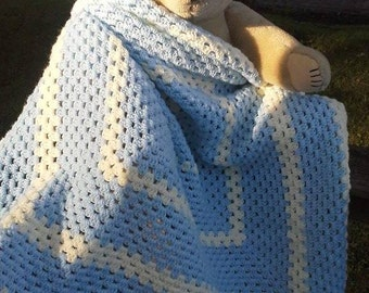 Blue and White Granny Square Baby Afghan