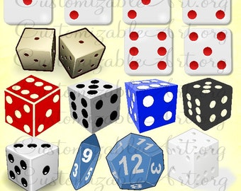 Dice Clipart Digital Dice Clip Art Black White Playing Game Dice Clipart Image Dice Printable Die Cubes Gambling Casino Dice DIY Graphics