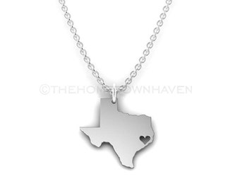 Texas Necklace, I heart texas Necklace, Texas state necklace, Texas outline