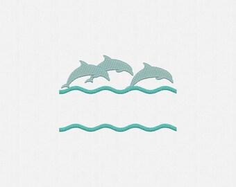 Split Dolphin Machine Embroidery Design - 2 Sizes