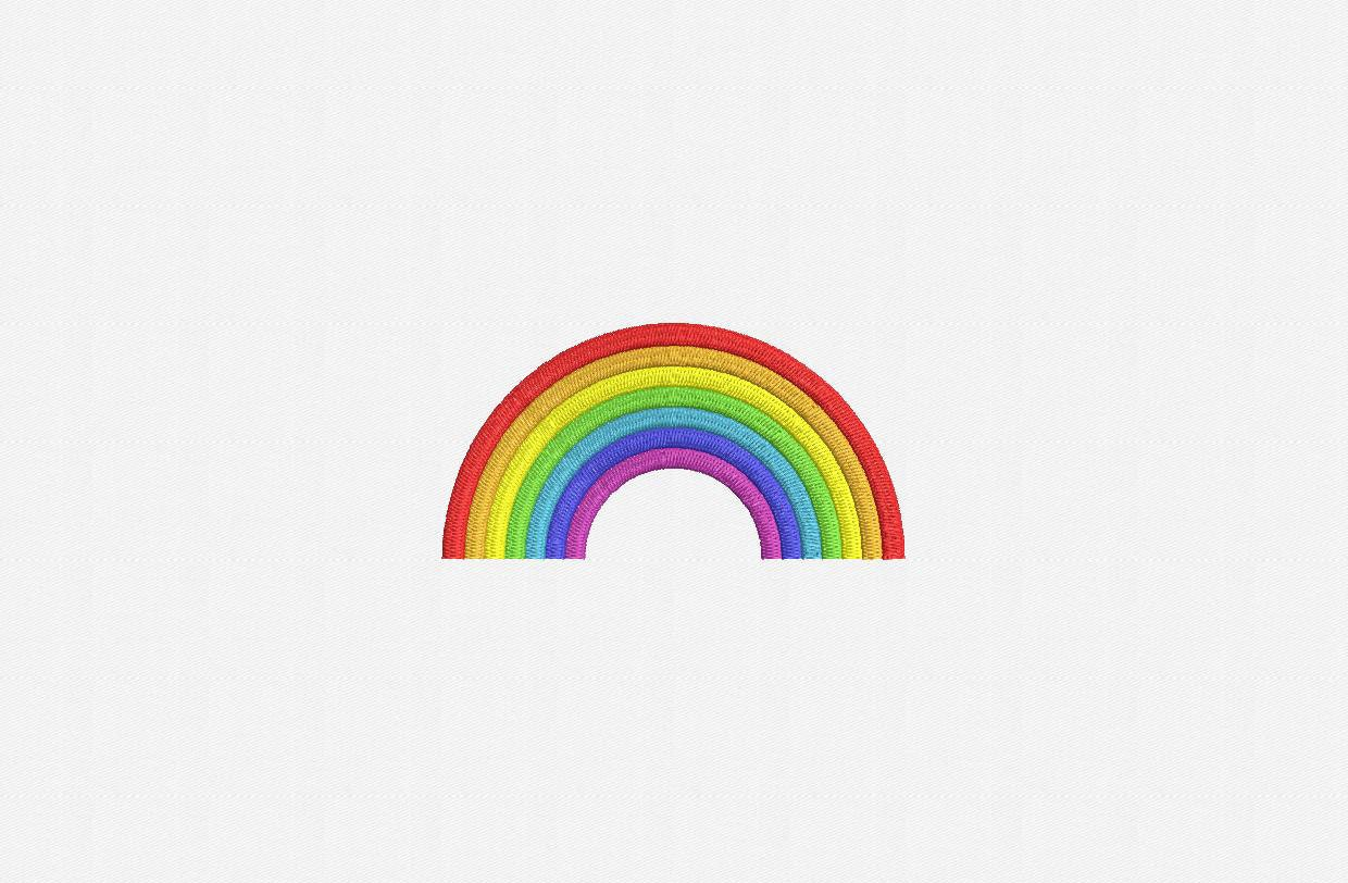 Rainbow machine embroidery design sizes from