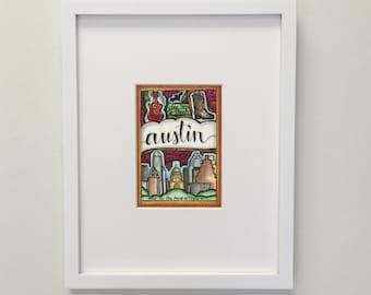 Austin, Texas Art Illustration 5x7 Wall Print