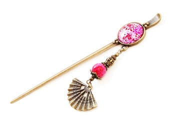 Metal hair stick with pink bead, sakura charm, fan and big glass cabochon - cherry blossom flowers, kanzashi - shawl pin or bookmark
