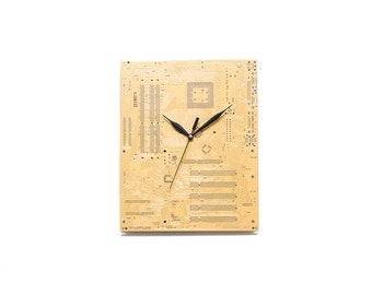 Yellow Gold Large Wall Clock - Circuit Board Clock - Unique Wall Clock - Modern Wall Clock - Unique Gift - Cool Gift - Industrial Clock