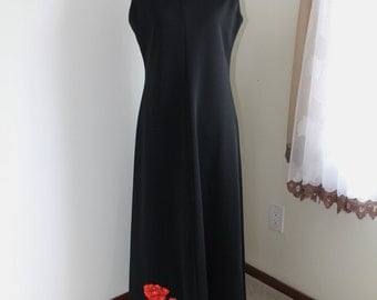 Black Maxi by Leslie Fay Knits 60s Sleeveless Evening Gown Size 14 Formal ILGWU Label