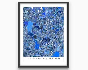 Kuala Lumpur Map Print, Kuala Lumpur Malaysia, Asia City Art