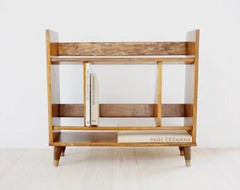 Vintage Mid Century Modern Bookshelf, Danish Modern Walnut Dovetailed 1960s Small Bookshelf, Brass-Footed, MCM Bookshelf