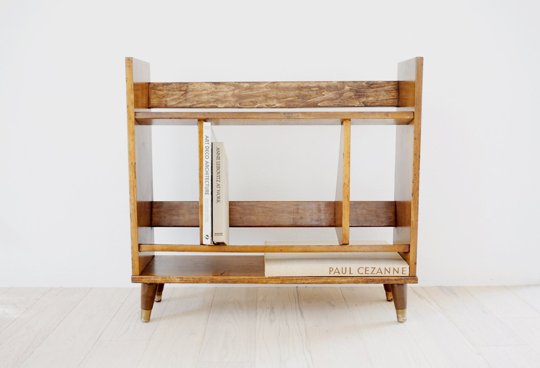 vintage mid century modern bookshelf danish modern walnut dovetailed 1960s small bookshelf brassfooted mcm bookshelf