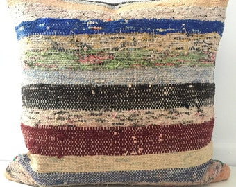 Rag Rug Pillow Cover, Ethnic, Handwoven, Turkish, Vintage, 004