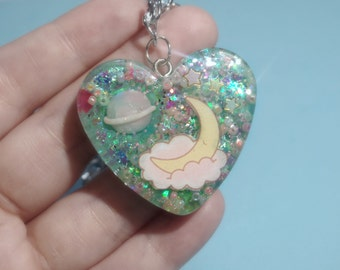Kawaii Space Planet Little Twin Stars Moon Resin Heart Necklace