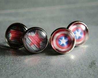 Captain America or Winter Soldier Earrings -- Steve Rogers -- Bucky Barnes -- Fandom Fashion -- Handmade Jewelry -- The Avengers - Civil War