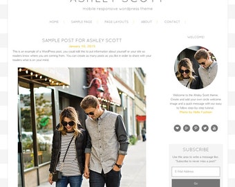 Ashley Scott WordPress Theme, WordPress Theme, Gold, Responsive WordPress Theme, Blog Design, WordPress Blog Design, WordPress Template