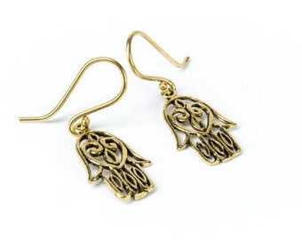Dainty Hamsa Hand Earrings handmade, Brass, Hanging Protection, Evil Eye Jewellery Gift boxed, Free UK post BG2