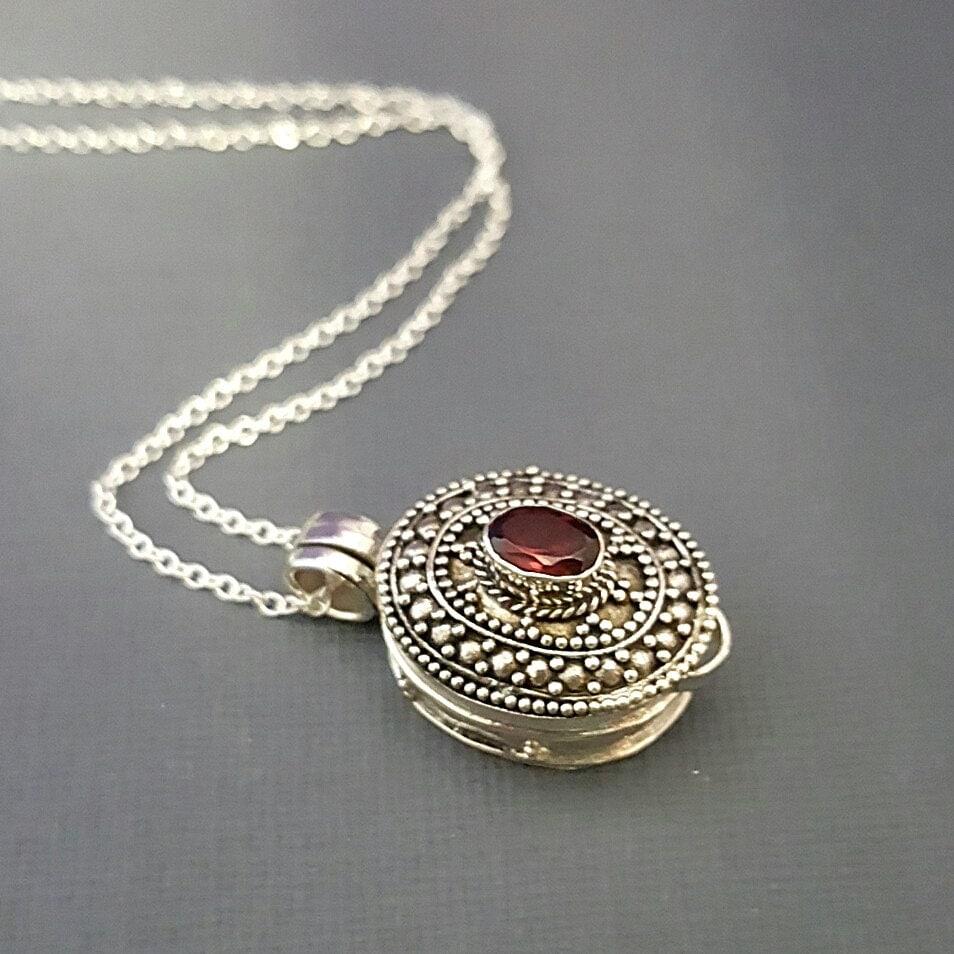 stash necklace garnet prayer box necklace by thewrenandrabbit