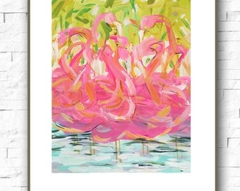 Flamingos Print abstract on paper or canvas, flamingos art