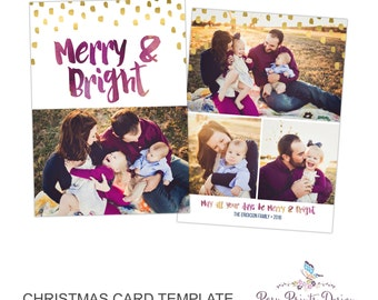 Christmas Card Photoshop Template - Merry and Bright - 5x7 Photo Card - INSTANT DOWNLOAD or Printable - CC33
