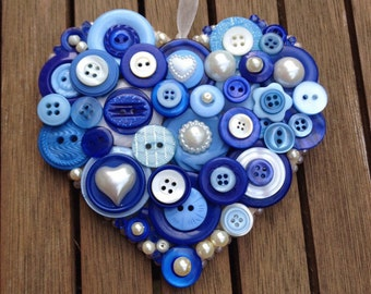 Button hanging heart, blue and ivory buttons, wedding Bridal gift, Bridesmaid or birthday gift, something blue, UK seller