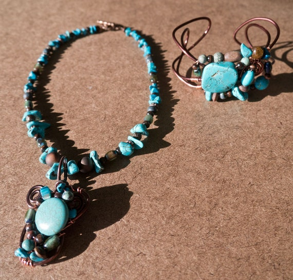 Handmade Copper Wire Wrap Turquoise Necklace and Cuff Bracelet