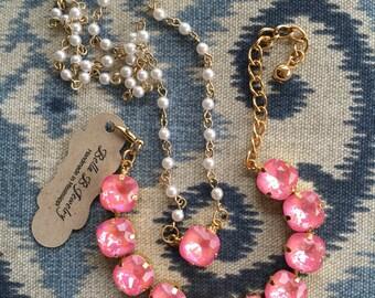 Ultra Coral AB Pearl necklace & Bracelet SET