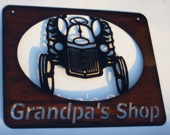 Vintage Tractor Metal Sign, Grandpa's Shop Metal Sign