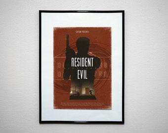 Resident Evil Minimalist Poster Print. Gamer Art.