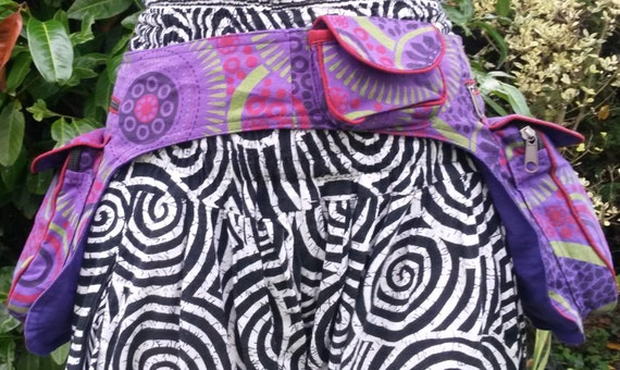 Colourful Two Pouch Bum Bag, Money Belt, Bright Spiral Pattern Blue Purple