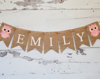 Pink Owl Personalized Banner, Owl Banner, Owl Burlap Banner, Owl Garland, Owl Decor, Girl Owl Decor, B202