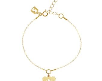 Koala 24k Gold over 925 Sterling Silver thin bracelet with box