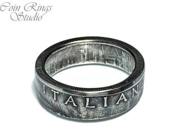Italian Coin Ring - Italy 100 Lire - Rings from Coins - Handcrafted souvenir - Italia - Italiana anelli dalle monete