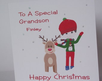 Lovely Personalised Handmade Little Boy & Reindeer Christmas  Card. Grandson, Son, Brother, Nephew, Godson, Friend etc.