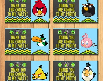 Angry Birds Party Tags Chalkboard * Angry Birds Favor Tags * Angry Birds Party Favors * Angry Birds Birthday Party Printables
