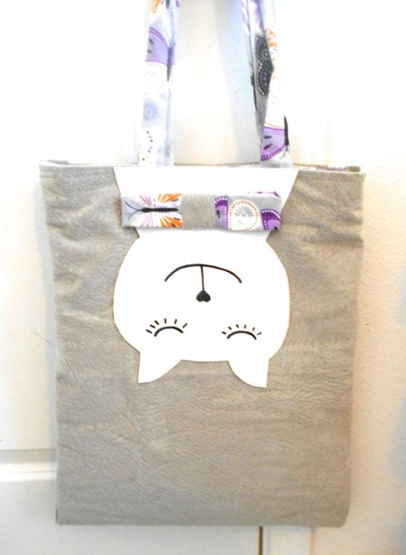 cat appliqué bag tote shopper bag cat face by ...