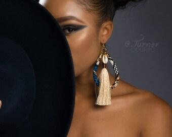 Blue & Cream African Fringe Earrings - Ankara Earrings - Cowrie Shell Fringe Earrings